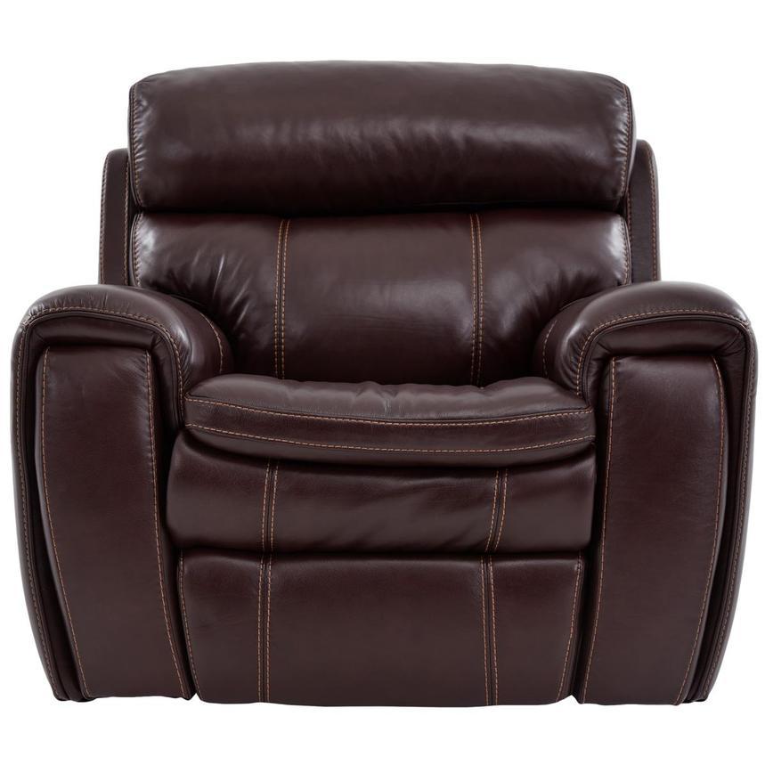 Napa Burgundy Leather Power Recliner  main image, 1 of 9 images.