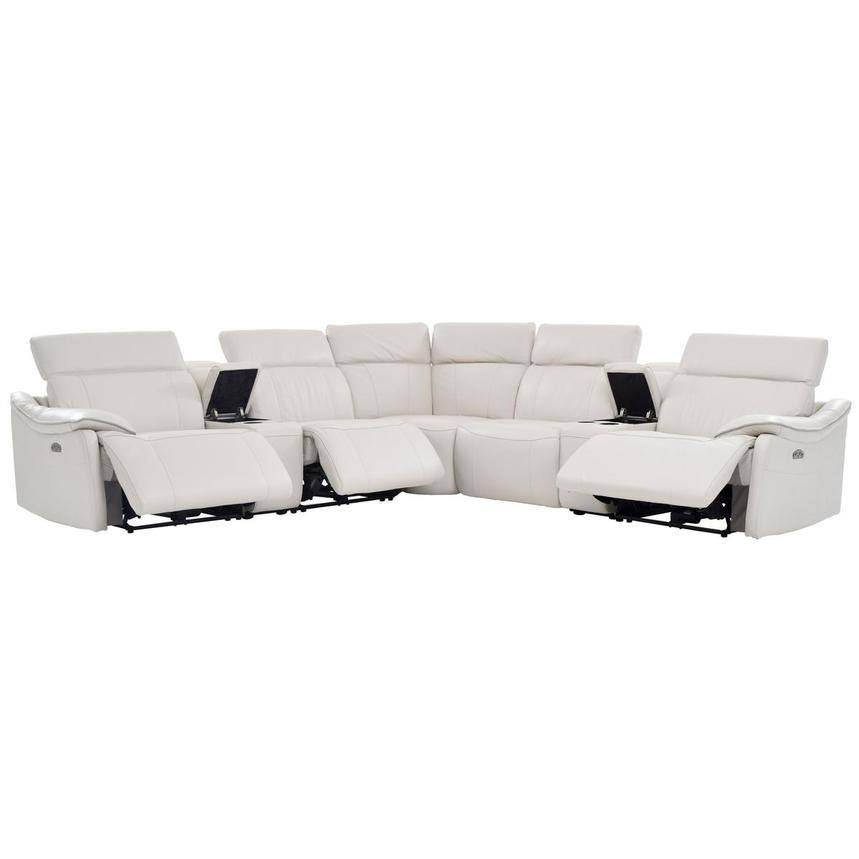 Austin White Leather Power Reclining Sectional  alternate image, 2 of 10 images.