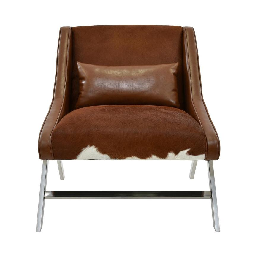 Krava Brown Leather Accent Chair  main image, 1 of 5 images.