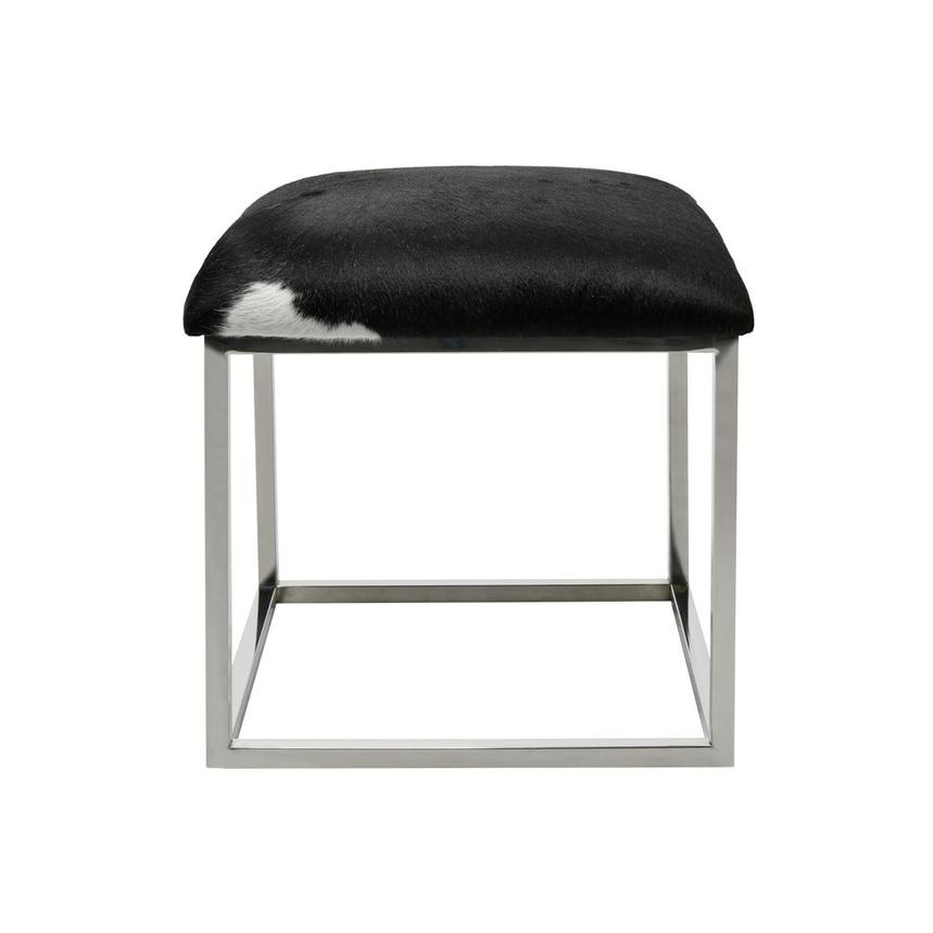 Krava Black Leather Ottoman  main image, 1 of 3 images.
