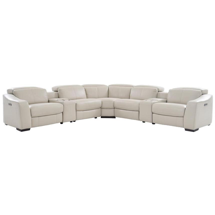 Jay Cream Power Motion Leather Sofa w/Right & Left Recliners  main image, 1 of 7 images.