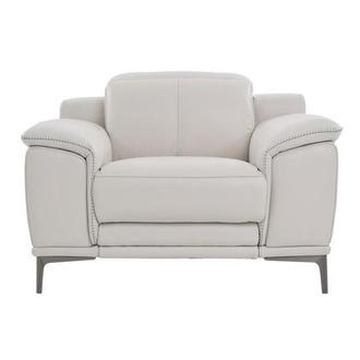 Katherine Light Gray Leather Power Recliner