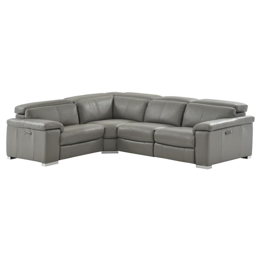 Charlie Gray Power Motion Leather Sofa w/Right & Left Recliners  main image, 1 of 9 images.
