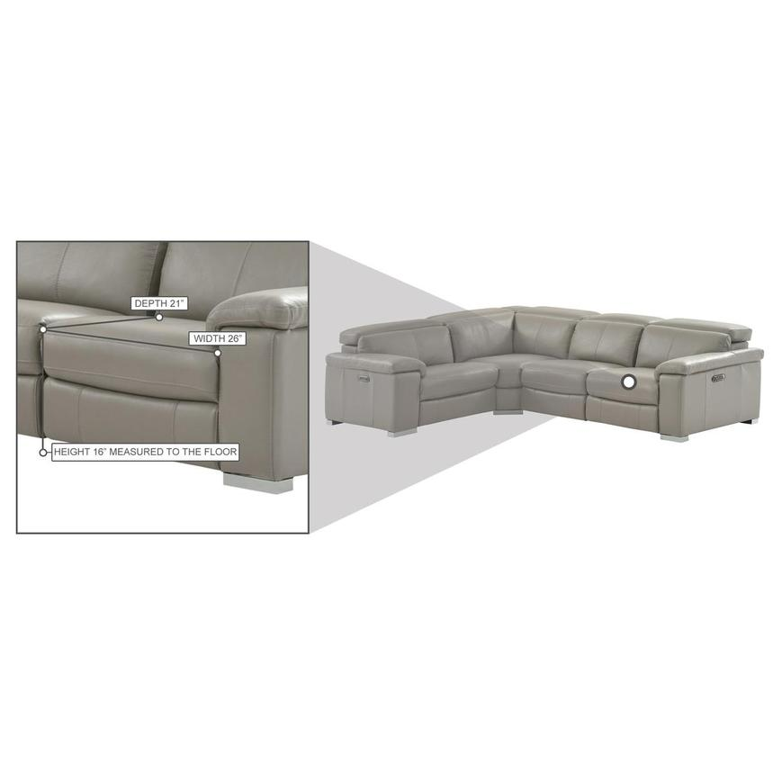 Charlie Light Gray Leather Power Reclining Sectional  alternate image, 10 of 10 images.