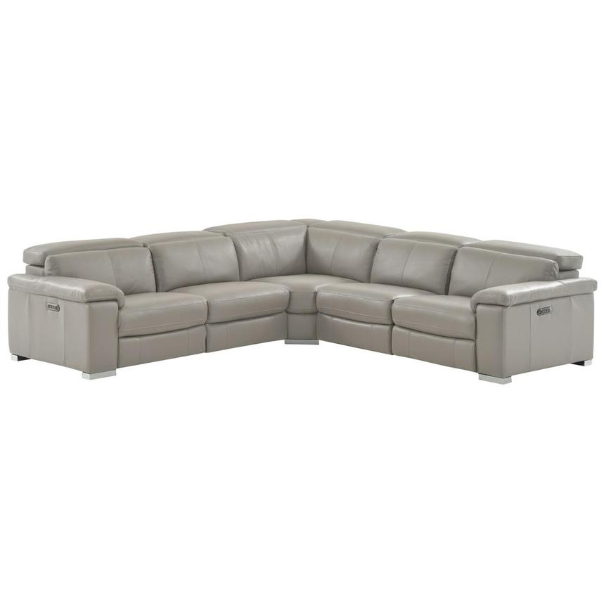 Charlie Light Gray Power Motion Leather Sofa w/Right & Left Recliners  main image, 1 of 9 images.