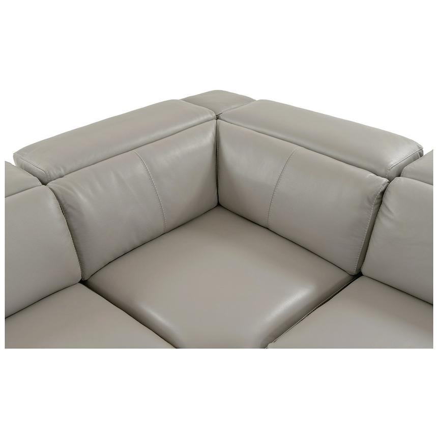 Charlie Light Gray Leather Power Reclining Sectional  alternate image, 5 of 9 images.
