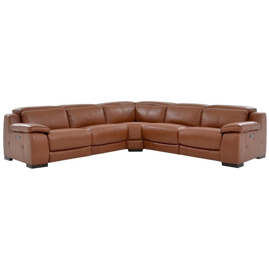 Gian Marco Tan Power Motion Leather Sofa w/Right & Left Recliners  main image, 1 of 6 images.