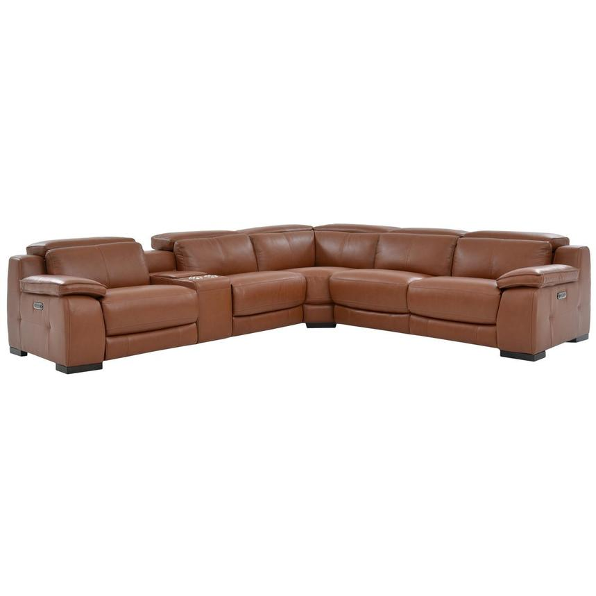Gian Marco Tan Power Motion Leather Sofa w/Right & Left Recliners  main image, 1 of 7 images.