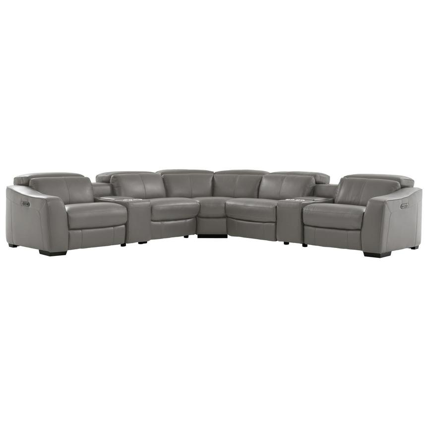 Jay Gray Power Motion Leather Sofa w/Right & Left Recliners  main image, 1 of 7 images.