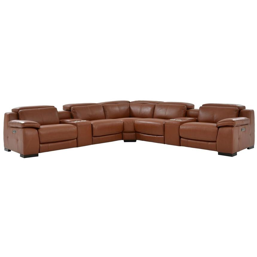 Gian Marco Tan Leather Power Reclining Sectional  main image, 1 of 10 images.