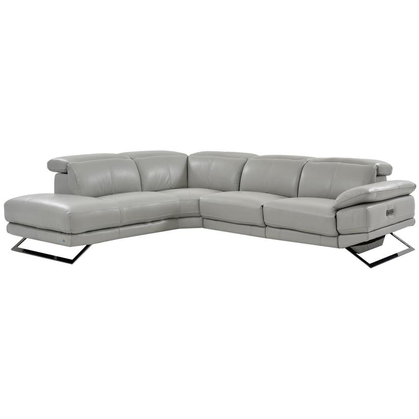 Toronto Light Gray Power Motion Leather Sofa w/Left Chaise  main image, 1 of 7 images.