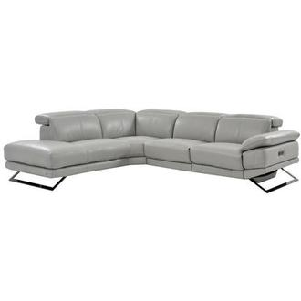 Toronto Light Gray Power Motion Leather Sofa w/Left Chaise