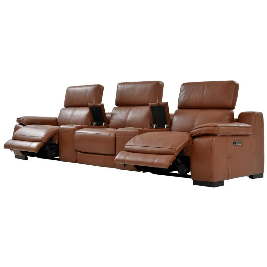 Gian Marco Tan Home Theater Leather Seating  alternate image, 3 of 10 images.