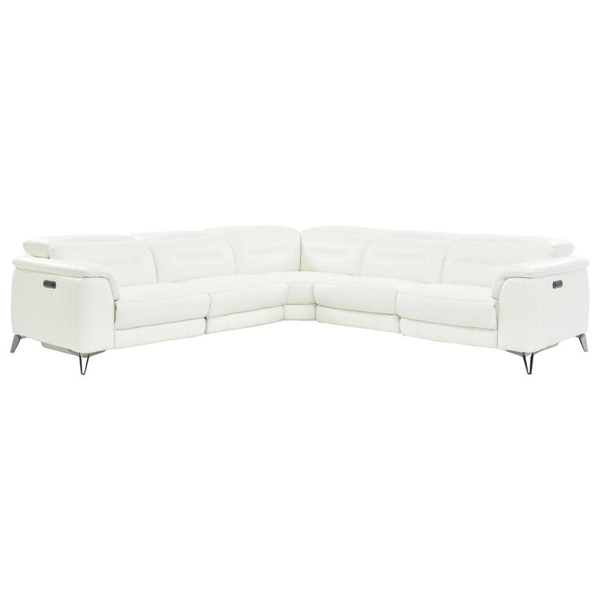 Anabel White Power Motion Leather Sofa w/Right & Left Recliners  main image, 1 of 7 images.