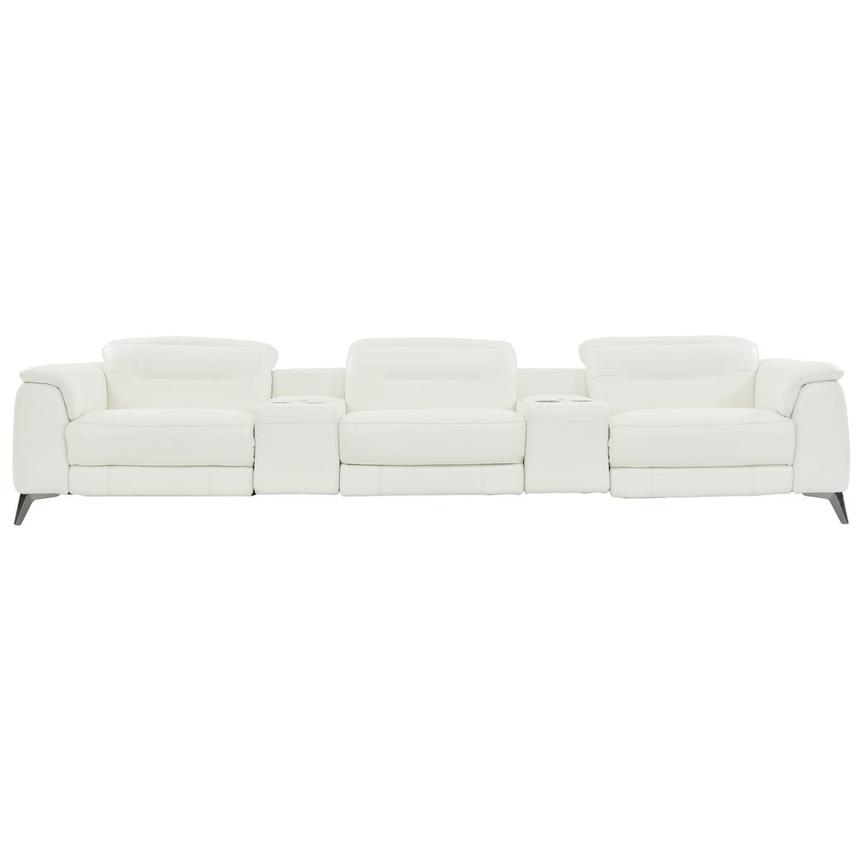 Anabel White Home Theater Leather Seating  main image, 1 of 9 images.