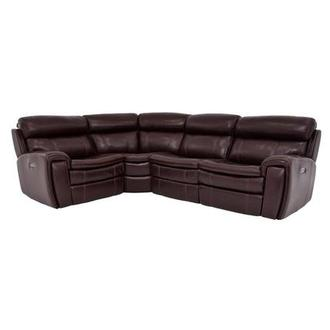Napa Burgundy Power Motion Leather Sofa w/Right & Left Recliners
