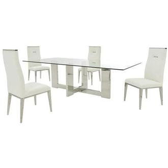Opus/Hyde I White 5-Piece Dining Set