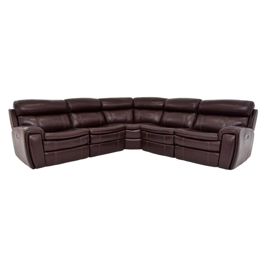Napa Burgundy Leather Power Reclining Sectional  main image, 1 of 8 images.