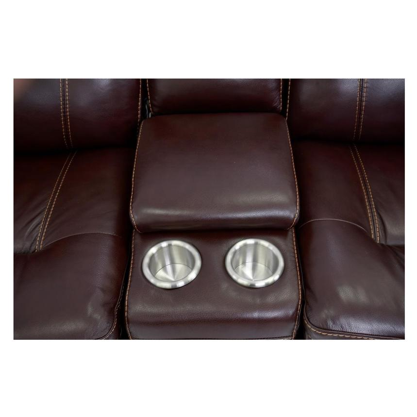 Napa Burgundy Leather Power Reclining Sectional  alternate image, 6 of 9 images.