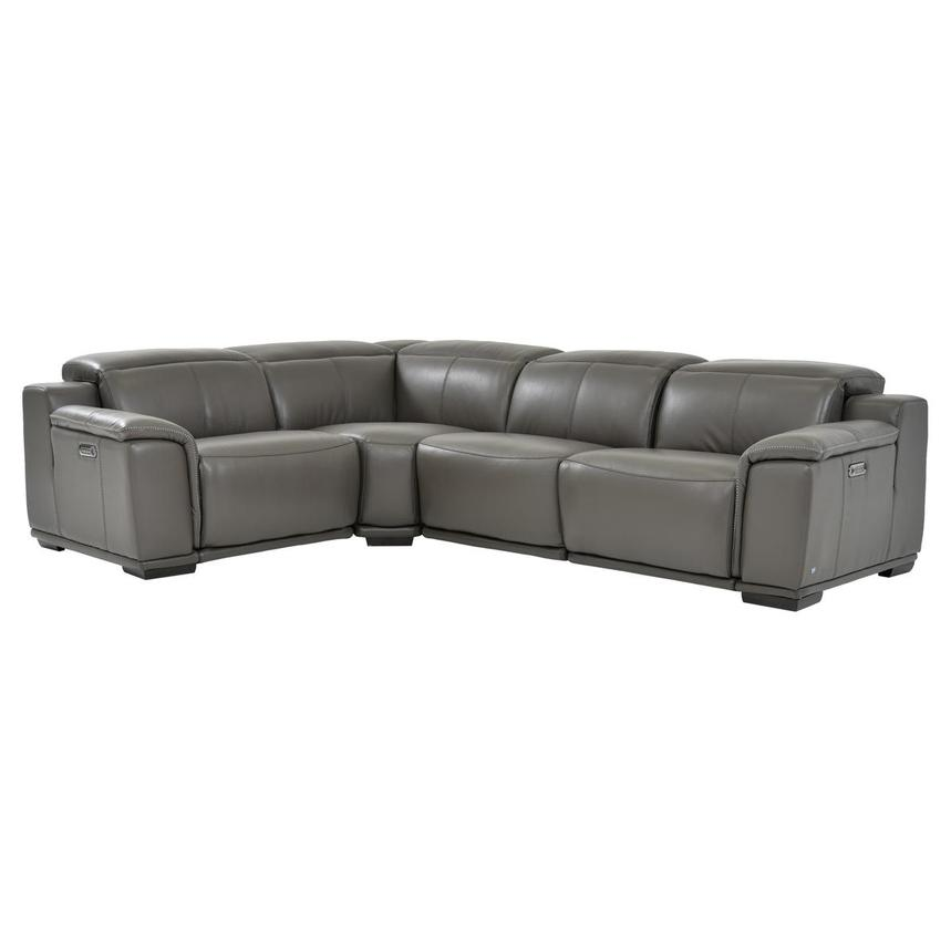 Davis 2.0 Gray Power Motion Leather Sofa w/Right & Left Recliners  main image, 1 of 6 images.
