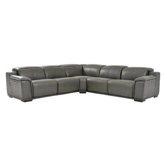 Davis 2.0 Dark Gray Leather Power Reclining Sectional