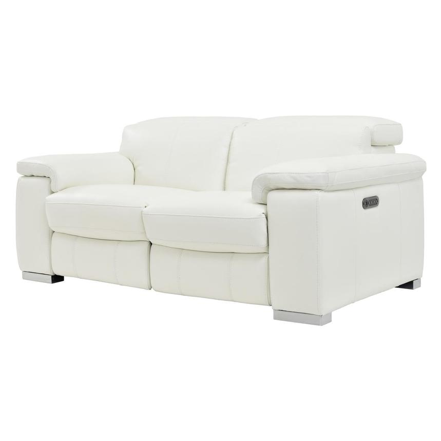 Charlie White Leather Power Reclining Loveseat  alternate image, 4 of 10 images.