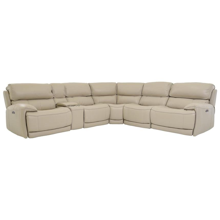Cody Cream Power Motion Leather Sofa w/Right & Left Recliners | El ...