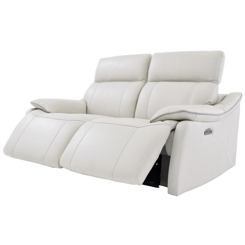 Austin White Leather Power Reclining Loveseat  alternate image, 3 of 8 images.
