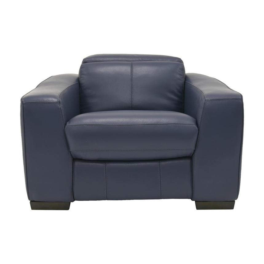 Jay Blue Leather Power Recliner  main image, 1 of 9 images.