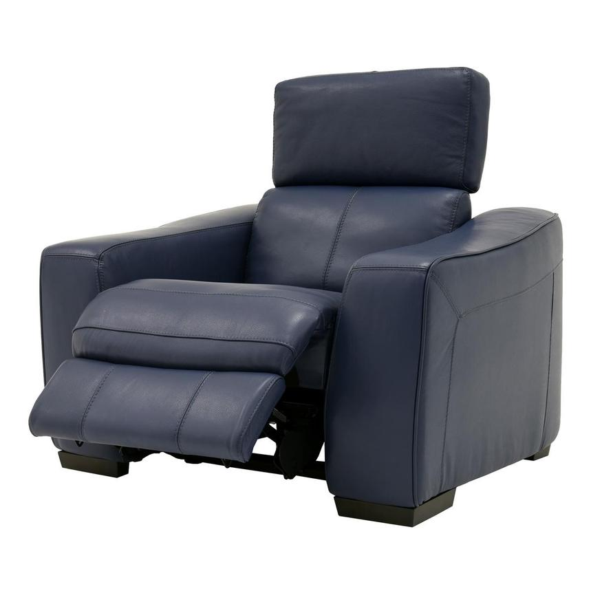 Jay Blue Power Motion Leather Recliner  alternate image, 3 of 7 images.