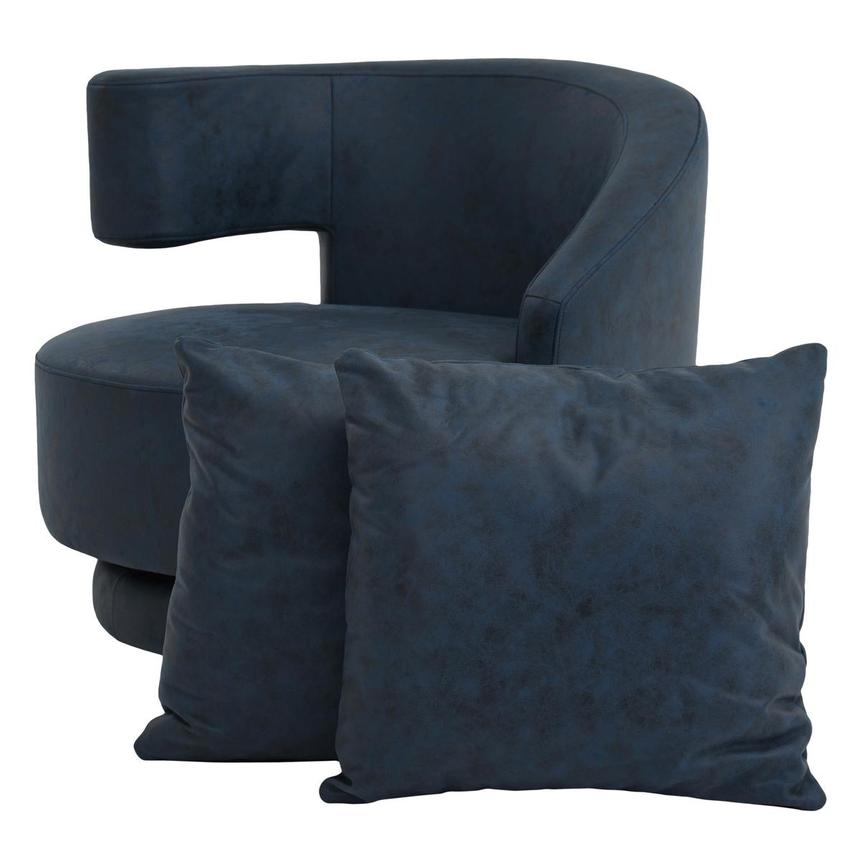 Okru Dark Blue Swivel Chair w/2 Pillows  main image, 1 of 10 images.