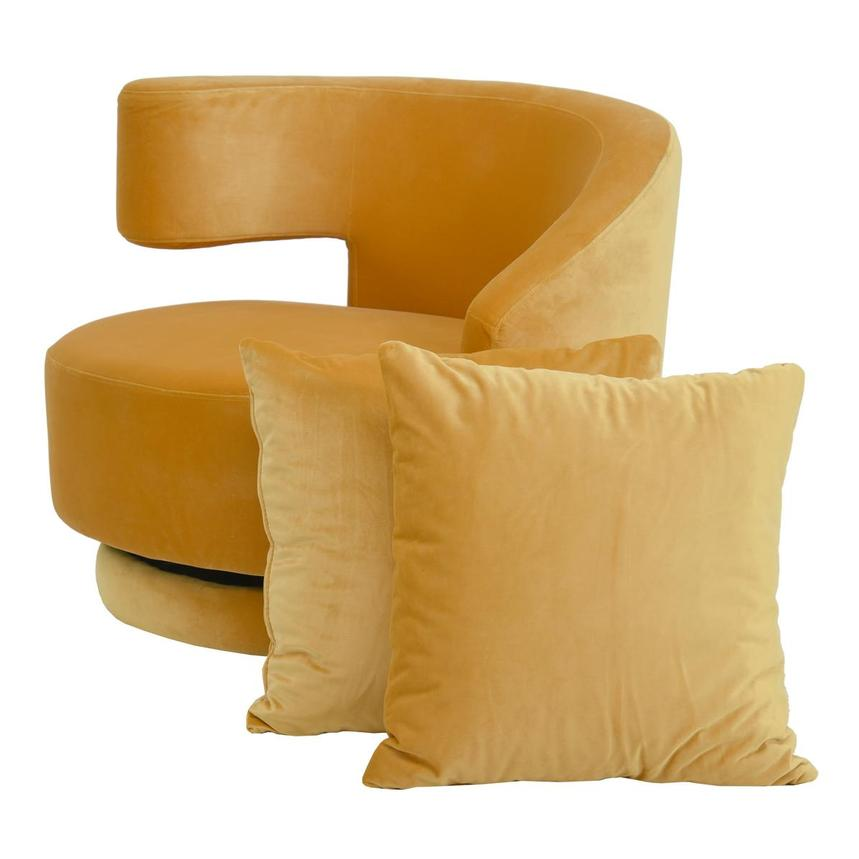 Okru Dark Yellow Swivel Chair w/2 Pillows  main image, 1 of 10 images.