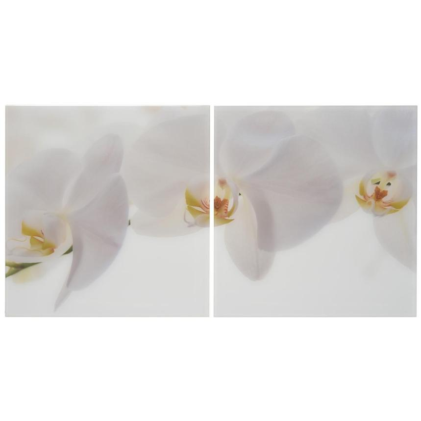 Orchidee White Set of 2 Acrylic Wall Art  main image, 1 of 4 images.