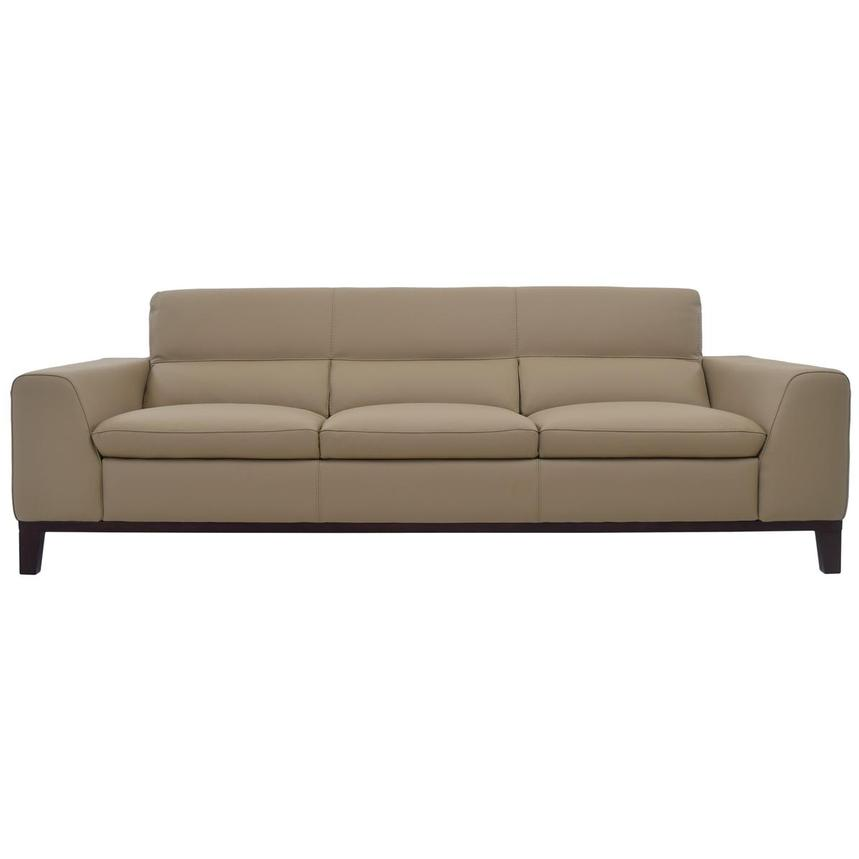 Milani Tan Leather Sofa  main image, 1 of 8 images.