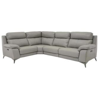 Barry Gray Leather Power Reclining Sectional
