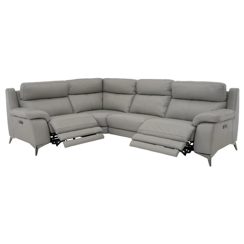 Barry Gray Leather Power Reclining Sectional  alternate image, 4 of 12 images.