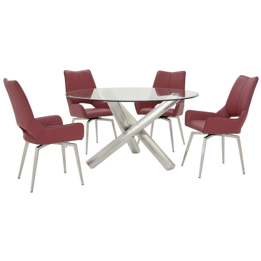 Addison/Kalia Red 5-Piece Formal Dining Set  main image, 1 of 12 images.
