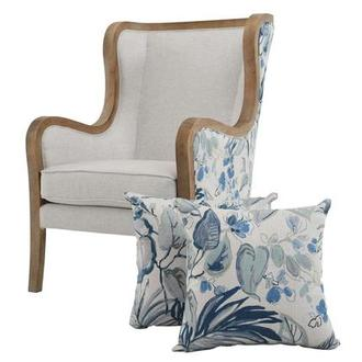 Scarlett Blue Accent Chair w/2 Pillows