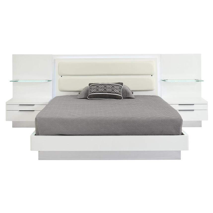 Ally White King Platform Bed w/Nightstands  main image, 1 of 16 images.