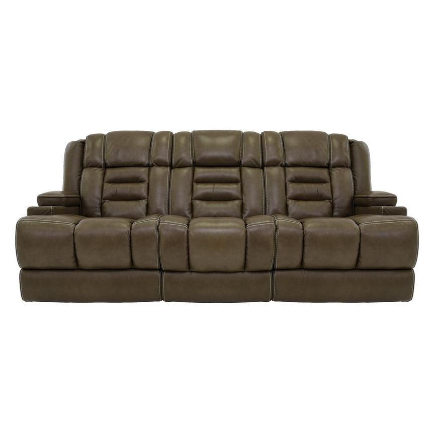 Damon Brown Leather Power Reclining Sofa  main image, 1 of 11 images.