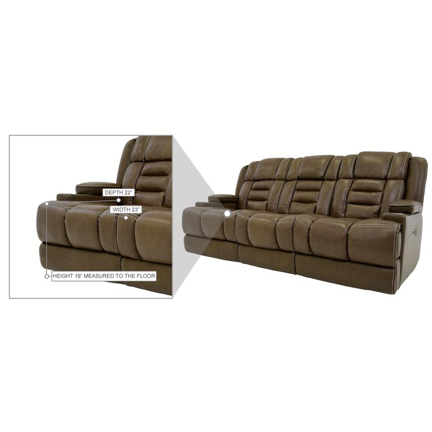 Damon Brown Leather Power Reclining Sofa  alternate image, 11 of 11 images.
