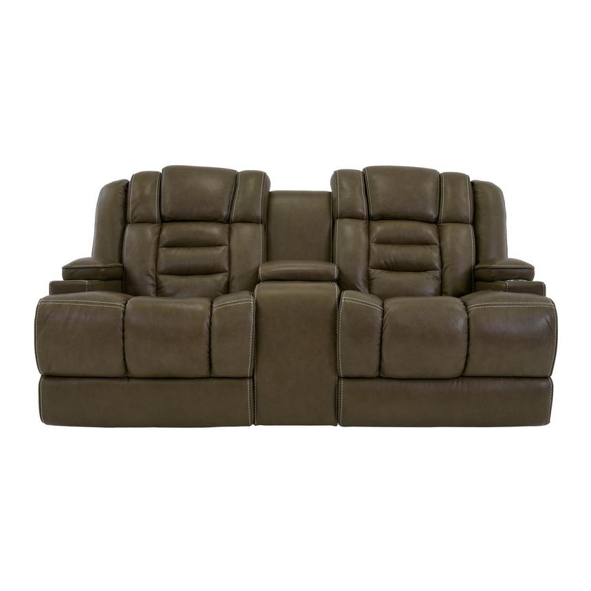 Damon Brown Power Motion Leather Sofa w/Console  main image, 1 of 9 images.