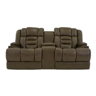 Damon Brown Power Motion Leather Sofa w/Console
