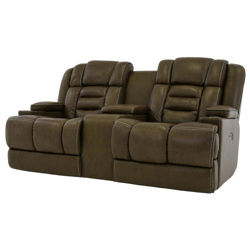 Damon Brown Leather Power Reclining Sofa w/Console  alternate image, 2 of 10 images.
