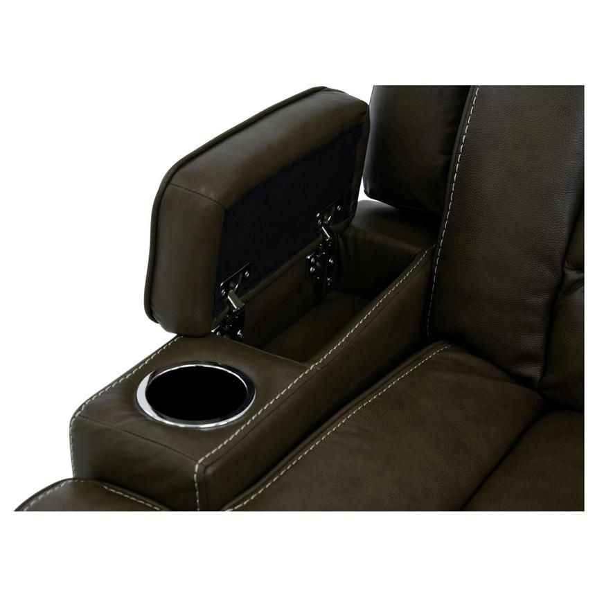 Damon Brown Leather Power Reclining Sofa w/Console  alternate image, 7 of 10 images.
