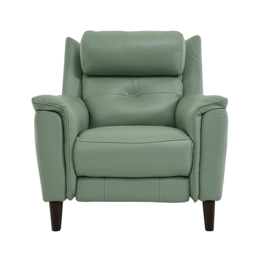 Mayte Green Power Motion Leather Recliner  main image, 1 of 8 images.