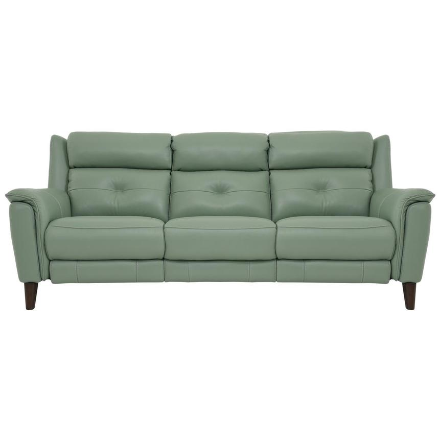 Mayte Green Power Motion Leather Sofa  main image, 1 of 10 images.