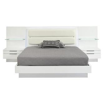 Ally White Queen Platform Bed w/Nightstands