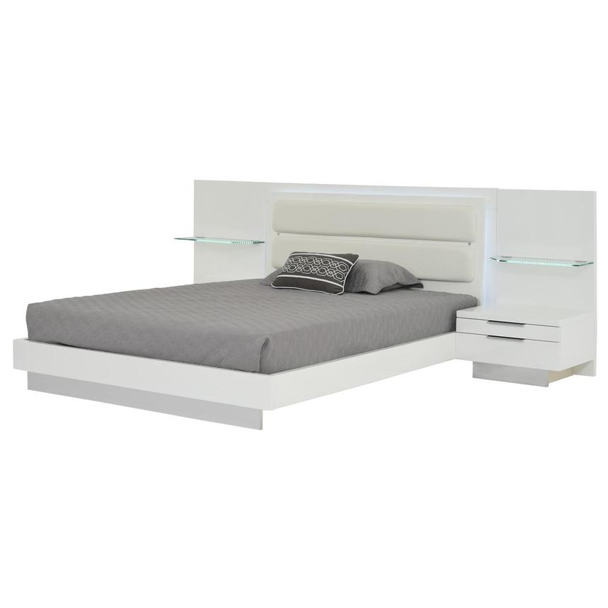 Ally White Queen Platform Bed w/Nightstands  main image, 1 of 18 images.