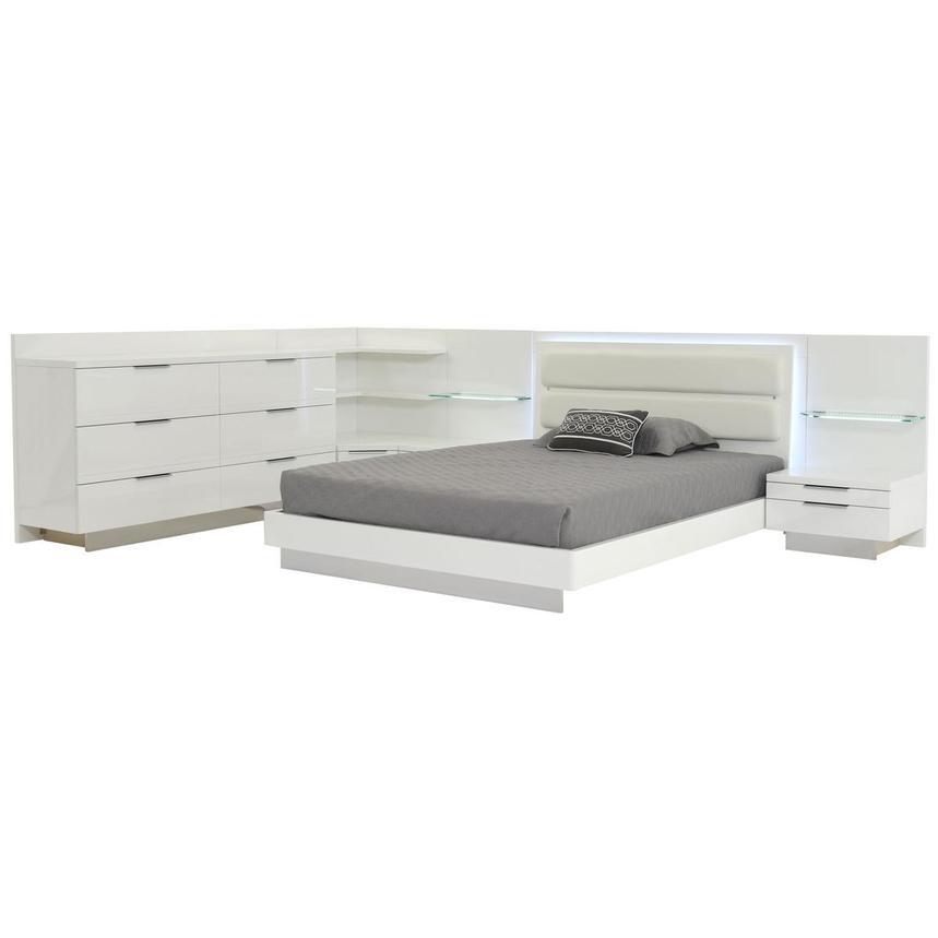 Ally White Queen Bed w/2 nightstands, dresser, & corner unit